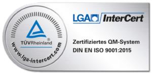 Ausgezeichnetes Qualitätsmanagement System TÜV Rheinland, DIN EN ISO 9001:2015